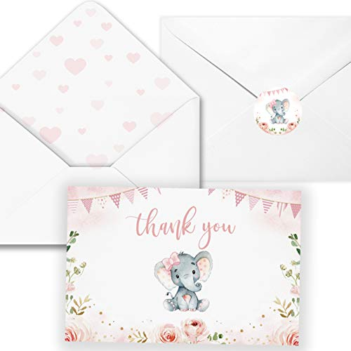 40 Elephant Baby Shower Thank You Card with Envelopes-Pink Watercolor Elephant Baby Girl Cards- 4 '' x 6''-Blank inside,Include Stickers (Pink Flower Elephant Card)
