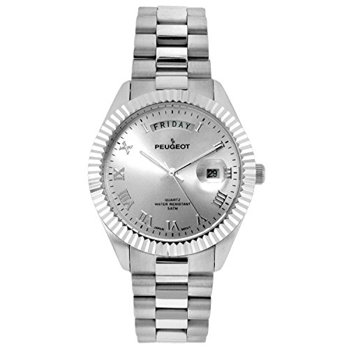 Peugeot Stainless Steel Silver Day Date Roman Numeral Big Face Fluted Bezel Luxury Watch 1029S