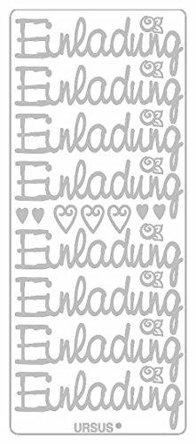 Ursus 59310077 - Kreativ Sticker, Einladung groß, 5 Blatt, silber