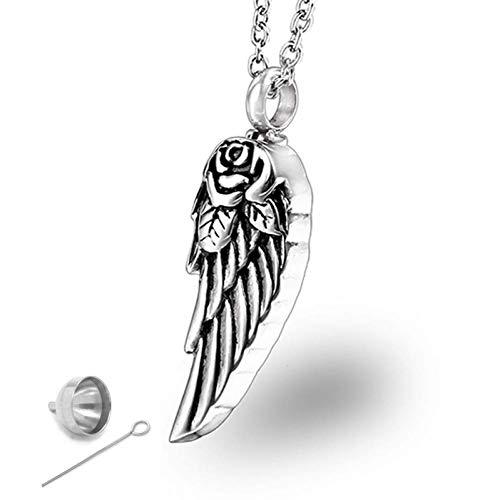 Stijlvolle eenvoud vintage roestvrij staal engel vleugels rozen parfum fles Cinerary kist hangers ketting sieraden mannen vrouwen, MN