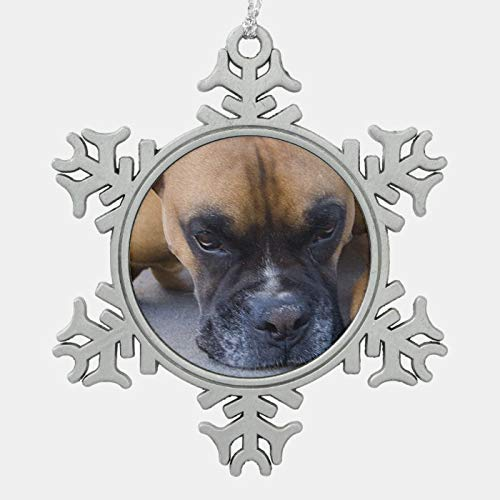 Christmas Ornament, Boxer Dog Snowflake Pewter Christmas Ornament, Xmas Tree Hanging Decorations, Home Decor, Keepsake GIF Ceramic Christmas Tree Decorative Xmas Hanging Ornament Keepsake