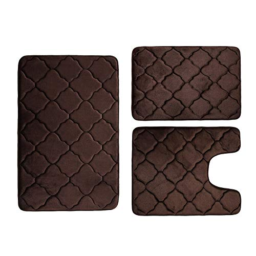 Buganda 3 Piece Memory Foam Bath Rugs Set - Extra Soft Velvet Non Slip Absorbent Bath Mats, Small Large Bathroom Rugs and Contour Mat, Coffee