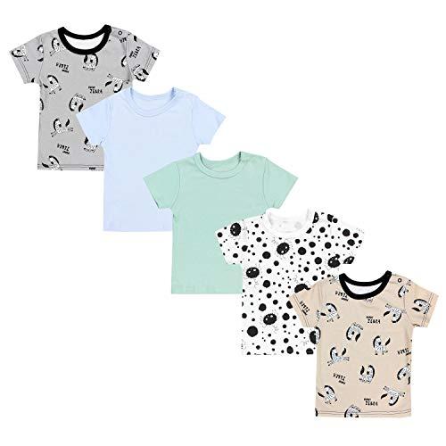 TupTam Camiseta Manga Corta para Bebé, Pack de 5, Multicolor 3, 80