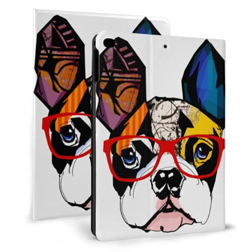 Portrait of French Bulldog Wearing Sunglasses Ve Case for Ipad Case Girls Compatible with Ipad Mini 4/Mini 5/2018 6th/2017 5th/air/air 2 with Auto Wake/Sleep