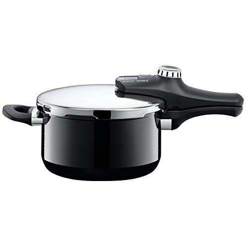 Silit Sicomatic econtrol Schnellkochtopf 4,5 L, Silargan Funktionskeramik, 3 Kochstufen Einhand-Drehregler induktionsgeeignet, spülmaschinengeeignet, schwarz, Ø 22 cm