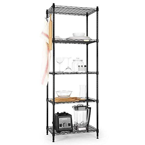 Cozzine 5 Tier Storage Shelves, Adjustable Storage Shelves 21'x 11'x 59' Heavy Duty Steel Tube Wire Shelving Unit (Silver)