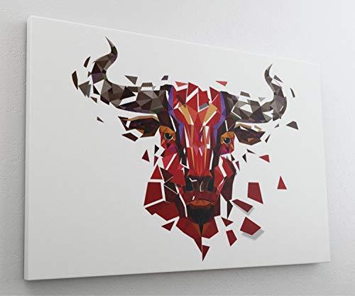 Roter Stier Scherbe Leinwand Canvas Bild Wandbild Kunstdruck L2044 Größe 70 cm x 50 cm