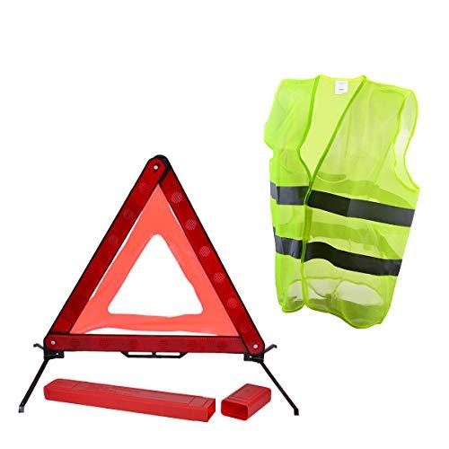 YoungRich Kit de Seguridad de Coche 1x Triángulo Reflectante Placa Triángulo de Emergencia con una Caja de PVC Roja y 1x Chaleco de Seguridad Chaleco Reflectante Fluorescente para la en Bicicleta