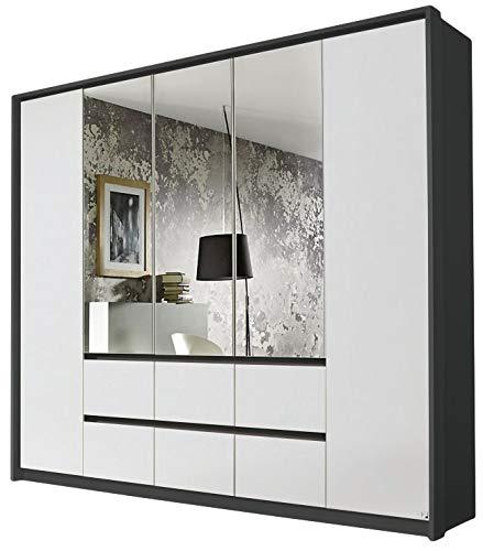 Kleiderschrank Ella 5 Türen weiß/grau B 230 cm mit Push-to-Open-Beschlag Jugendzimmer Schlafzimmer Drehtüren Wäscheschrank Spiegelschrank