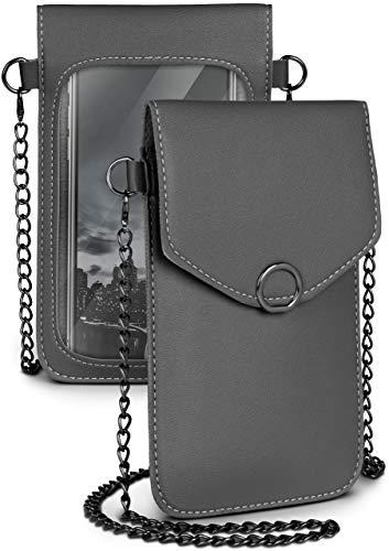 moex Handytasche zum Umhängen für alle Smartphones - Kleine Handtasche Damen mit separatem Handyfach & Sichtfenster - Crossbody Tasche, Dunkelgrau