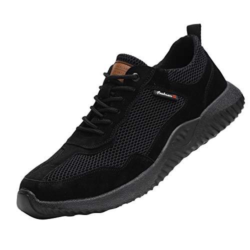 Drecage Sicherheitsschuhe S3 Arbeitsschuhe mit Stahlkappe rutschfest und Leicht für Herren Damen Trekking Schutzschuhe Outdoor Sportlich Sneaker Schwarz 43 EU