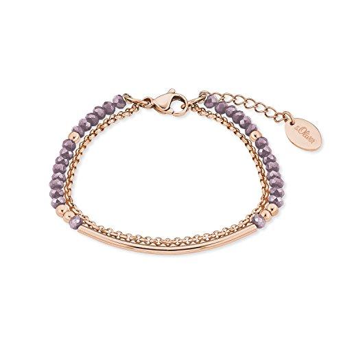 s.Oliver Damen-Armband Edelstahl IP Rose Beschichtung Glassteine lavendel