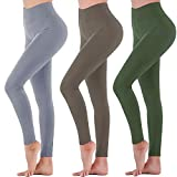 Womens High Waisted Leggings - Soft Athletic Tummy Control Full Length Pants for Running Cycling Yoga Workout (3 Pack Black/Mocha/Army Green, Small-Medium)