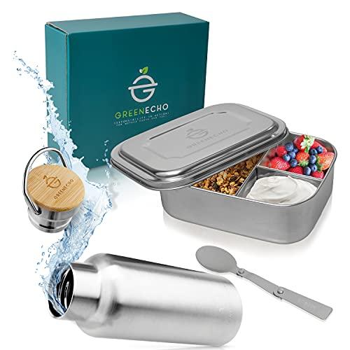 GREENECHO® Edelstahl Brotdose Set 1000ml - inkl. Trinkflasche 350ml und Faltlöffel - Lunchbox mit Fächern - Eco Bento Box BPA und Plastikfrei - auch für Kinder, Outdoor