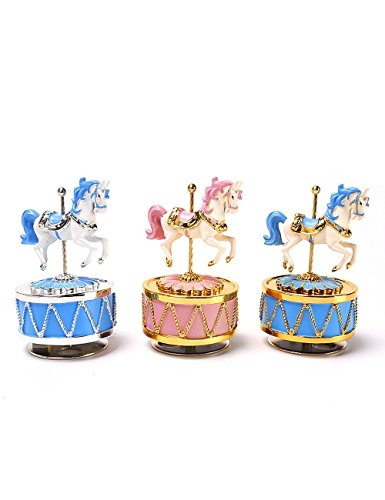 HoneyGifts Luxury Carousel Music Box, Happy Pony Design, for Kids (Pink & Gold) 7