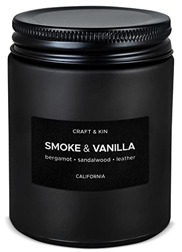 Scented Candles for Men | Smoke & Vanilla Scented Candle | Soy Candles for Home Scented | Aromatherapy Candle Men Candles | Candle for Men Candles | Long Lasting Candles | Vanilla Candle in Black Jar