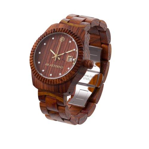 AB AETERNO 'Aurora' 100% Natural Madera Sandalo Rojo Swiss Movement Swarovski Hipoalergénico Mujer Reloj