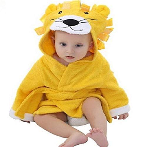 WSNBB 20 Designs Baby-Bad mit Kapuze Tiermodell ing Baby-Bademantel Cartoon-Baby-Spa Handtuch Charakter Kindern Bademantel Säugling Strandtücher,Löwe