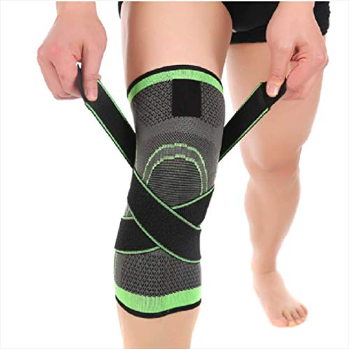 3D Support Knee Sleeve Brace Adjustable Weaving Knee Brace, Breathable Sleeve Support, Suitable for Running, Sports, Great for Weightlifting Relieving Joint Pain and Arthritis Relief
