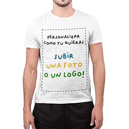 Camiseta Personalizada para Hombre 100% algodón Personalizable con Foto Logo (XL, Blanco)