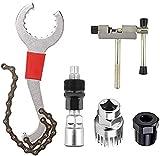 5Pcs Bike Repair Tool Kits Crank Puller Removal Tool Bicycle Freewheel Remover Bracket Remover Chain Breaker Splitter Cutter