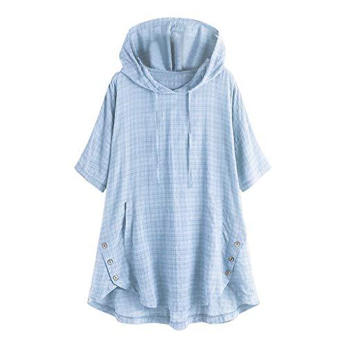 COZOCO Damen Karo Kurzarm T-Shirt Knopf Unregelmäßiger Saum Hemd Übergroße Kapuzenbluse mit Kordelzug(Grün,48 DE/5XL CN)