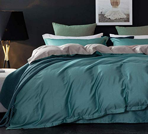 N P 3pcs Teal Grey Duvet Cover Set Full Queen Size Teal Green Peacock Blue Reversible Gray Farmhouse product image