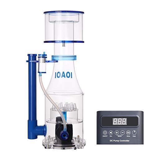 IOAOI Protein Skimmers for Saltwater Aquariums up to 210 Gallons Fish Tank Cast Acrylic Protein Skimmer Ultra Quiet Needle Pinwheel DC Pump 23W for Big Tank Water Flow and Air Flow Adjustable