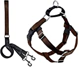 2 Hounds Design Freedom No-Pull Dog Harness with Leash, Medium, 1-Inch Wide, Brown