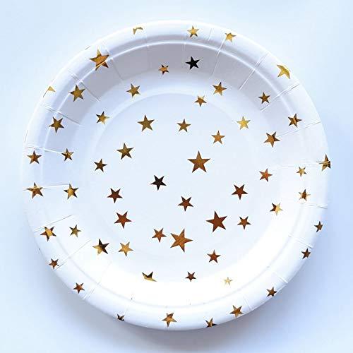 10 Stücke Einweg Pappteller Geschirr Utensilien Orange Streifen Papier Geschirr Sets Platte Für Hochzeit Geburtstag Party Dekoration, Gold Star