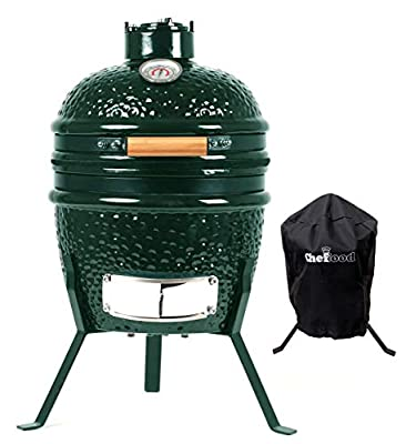 "Chefood 13"" Ceramic Kamado Portable BBQ Charcoal Grill With Cover"