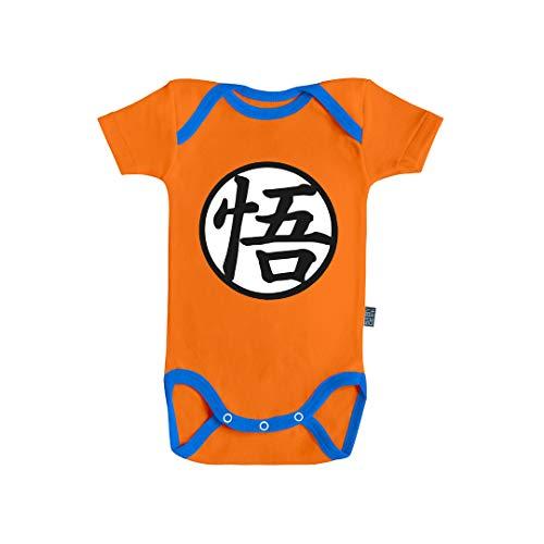 Baby Geek - Body de manga corta para bebé de Goku (algodón naranja, costura), color azul naranja 6 mes