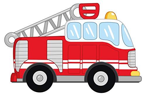dekodino® Wandtattoo Feuerwehr Auto rot weiß Wandsticker Kinderzimmer