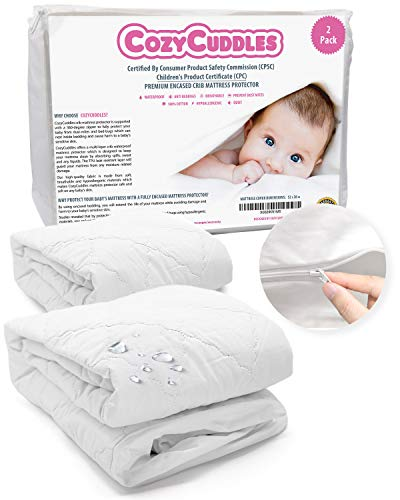 [2 Pack] COZYCUDDLES Premium Zippered Quilted Waterproof Crib Protector Cover – All 6-Sides Waterproof Bedbugs Proof Fully Encasement – Standard Baby Crib Toddler Bedding (52″ x 28″)