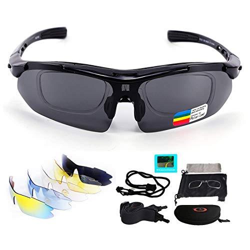 V VILISUN Fahrradbrille Sportbrille Sonnenbrille UV400 5 Wechselgläser inkl Schwarze Polarisierte Linse für Outdooraktivitäten wie Radfahren Klettern Autofahren Laufen Angeln Golf Unisex