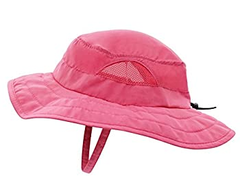 Connectyle Kids UPF 50+ Mesh Safari Sun Hat UV Sun Protection Hat Summer Daily Play Hat  Hot Pink  ,50-54cm/19.6 -21.2