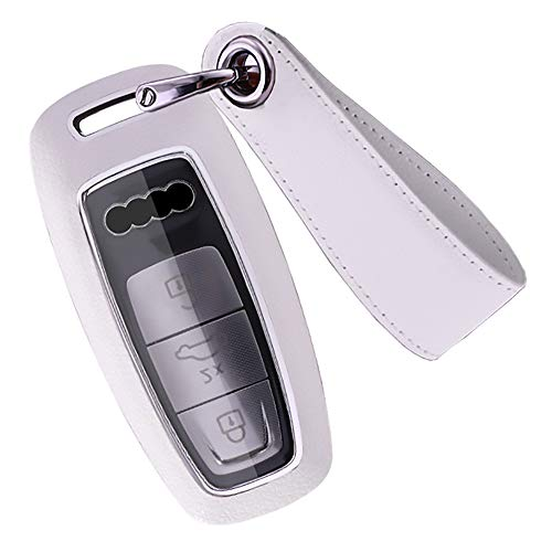 SANRILY 3 Button Key Fob Cover for Audi A8 A6 A7 C8 E-Tron 2019 2020 Keyless Remote Key Holder ABS Leather Key Protective Case with Keychain White