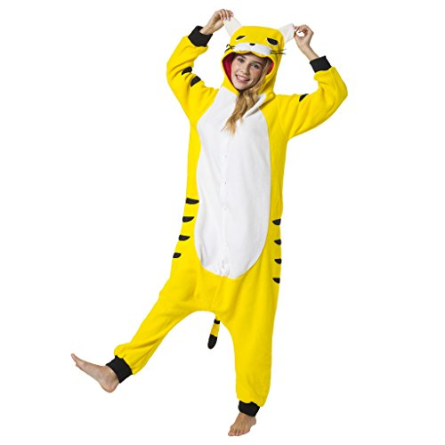 Katara 1744 - Tiger Kostüm-Anzug Onesie/Jumpsuit Einteiler Body für Erwachsene Damen Herren als Pyjama oder Schlafanzug Unisex - viele Verschiedene Tiere