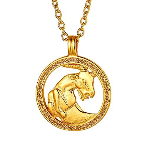 FindChic Colgante Capricornio en Medalla de Oro 18k banado con Cadena Adjustable