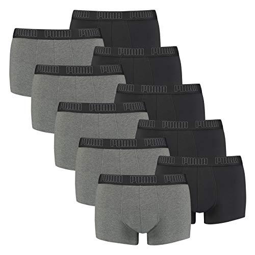 PUMA Herren Basic Trunk Boxershort 10er Pack Dark Grey Melange / Black (008) Größe:XL