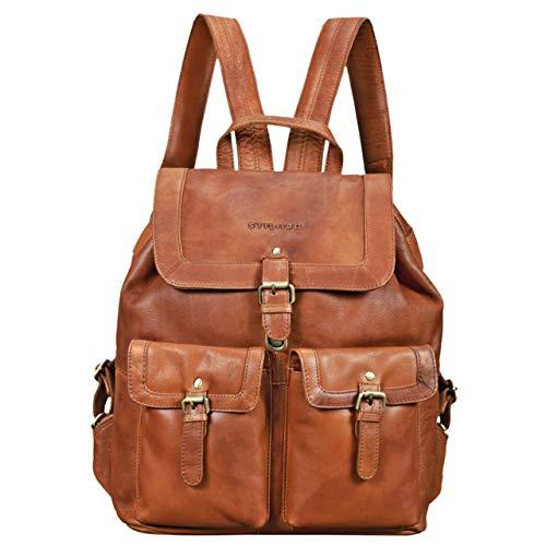 STILORD 'Nora' Großer Lederrucksack Braun Vintage Hochwertiger Daypack 15.6 Zoll Rucksack-Handtasche für Schule Uni Freizeit Echtes Leder, Farbe:girona - braun