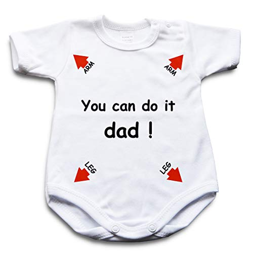 You can do it dad - Funny Baby Body Blanco Manga corta blanca. 62 cm (0- 2 meses)