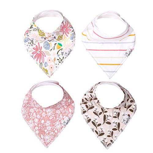 Baby Bandana Drool Bibs for Drooling and Teething 4 Pack Gift Set for Girls Olive by Copper Pearl