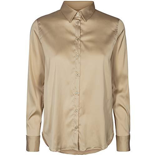 Mos Mosh Damen Bluse Martina Satin Shirt Pebble beige - S