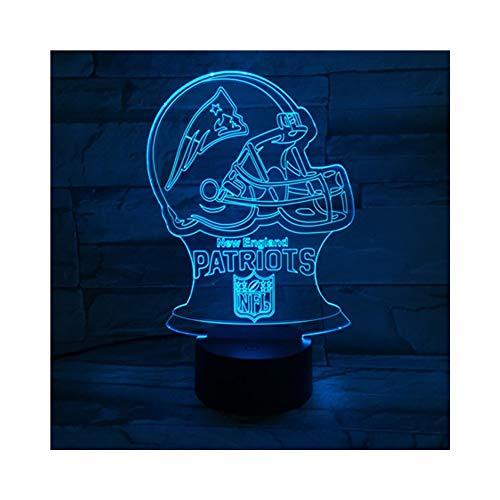 Rugby-Patrioten LED-Illusionslicht, optischer 3D-Nachttisch Nachtlicht Beleuchtung Kinderlampe Schlaf Beleuchtung 7 Farbe Touch-Taste dekorative Tischlampe