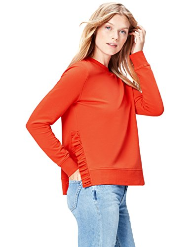 Marchio Amazon - find. T-shirt Girocollo a Manica Lunga Donna, Rosso (Red), 42, Label: S