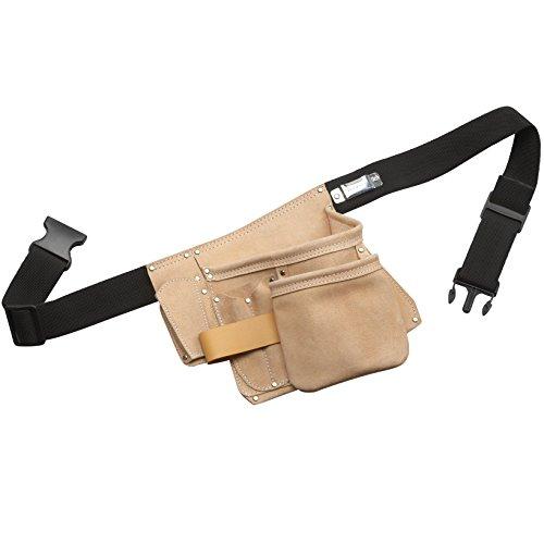 Cutting Line Werkzeug-Gürteltasche - 6 Taschen - Narbenleder - Robust - Langlebig - Chrome VI frei / Werzeugtasche mit Gürtel / Werkzeuggürtel / Gürteltasche mit Hammerhalter / Nageltasche / 4540070