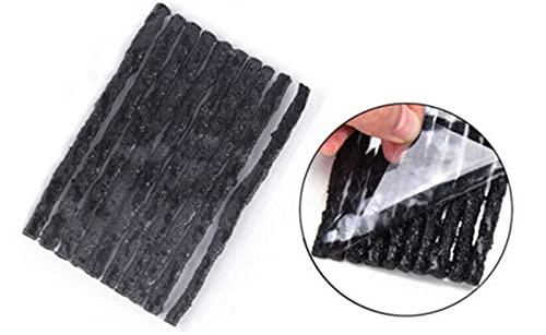 Voarge 50 Unidades Negras Kit de Mechas para Pinchazos de Neumáticos, Kit Repara Pinchazos Mechas, Reparación de neumáticos Tubeless para Moto, Coche, Junta de Goma