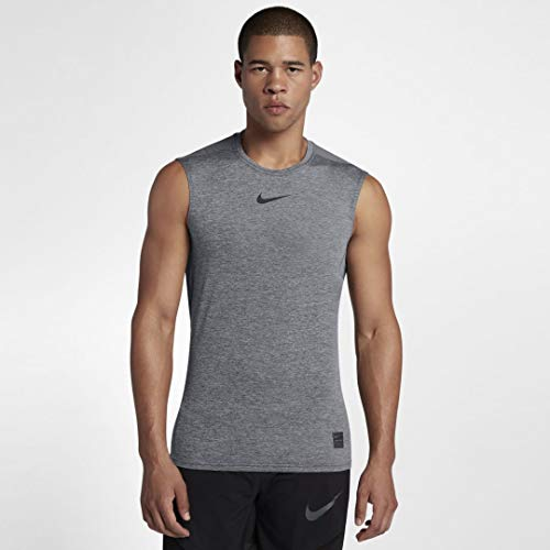Nike Pro Men's Fitted Sleeveless Shirt (Carbon Heather/Black, Small)