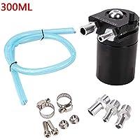 JUEYAN - Contenedor de Aceite de Motor, depósito colector de Aceite, 300 ml, Negro, aleación de Aluminio con Filtro de ventilación, Juego de mangueras